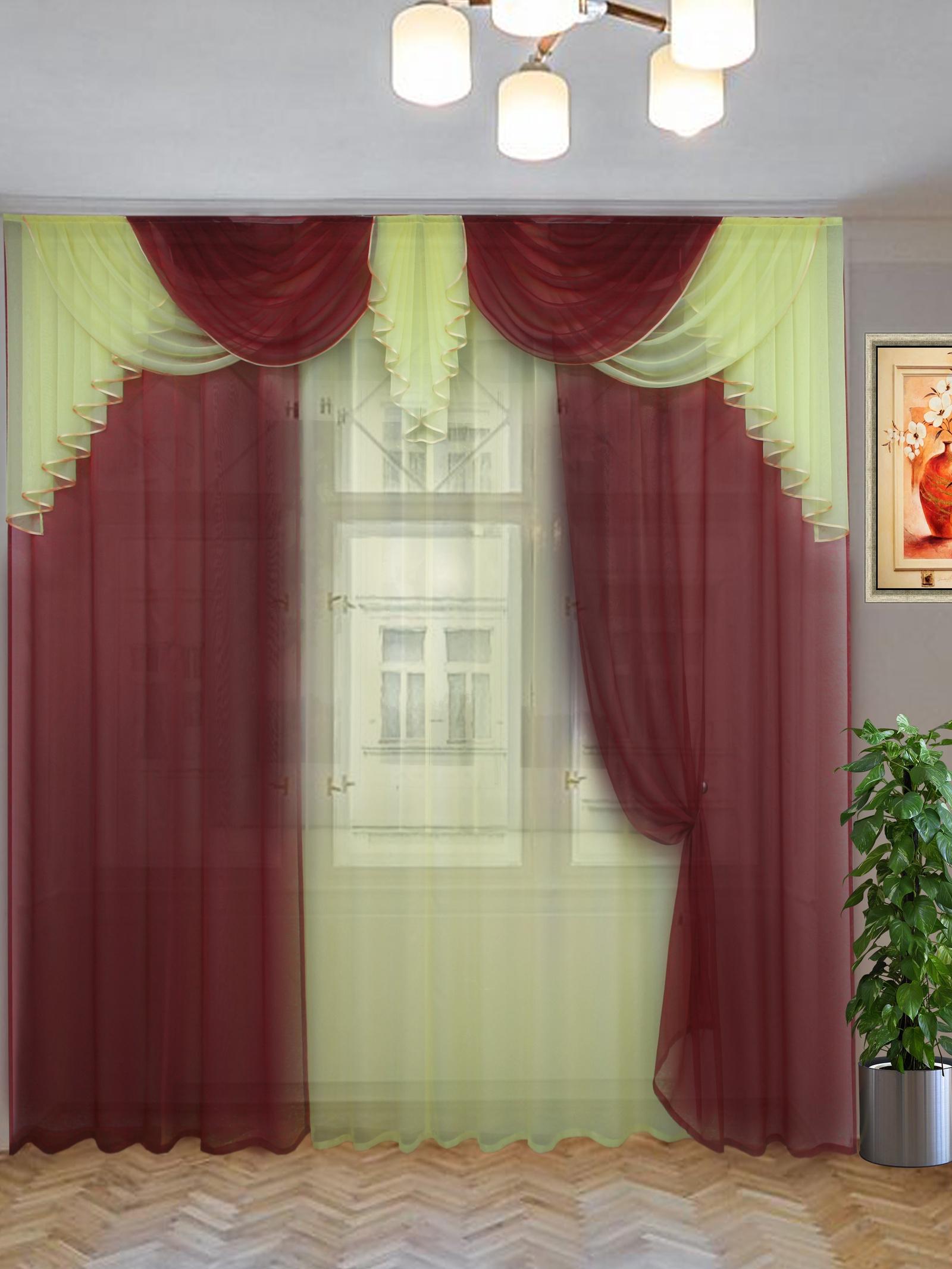 цена Комплект штор Текстиль.ру ТЕК-КШ-Афина-08-16-3*2,7-Т, бордовый, светло-бежевый онлайн в 2017 году
