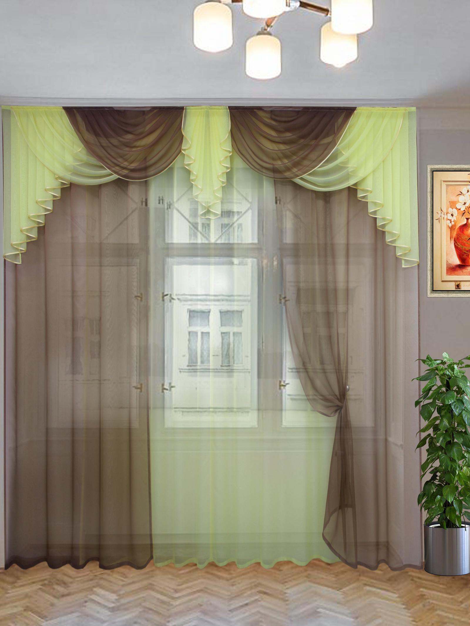 цена Комплект штор Текстиль.ру ТЕК-КШ-Афина-10-16-3*2,7-Т, коричневый, светло-бежевый онлайн в 2017 году