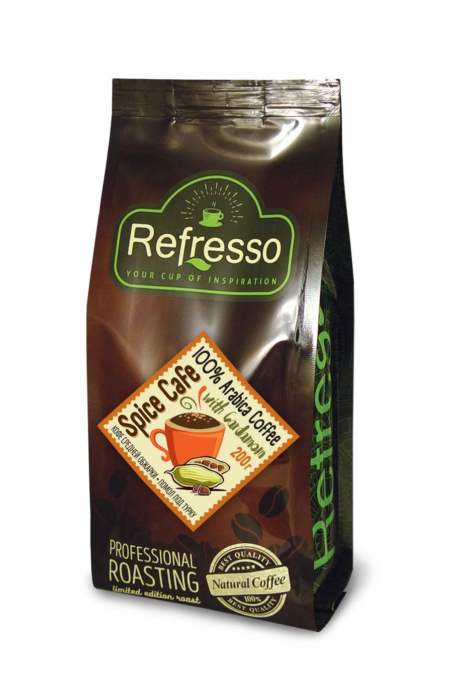 Кофе молотый, Refresso, Кофе с кардамоном , 200г кардамон целый магия востока 7г