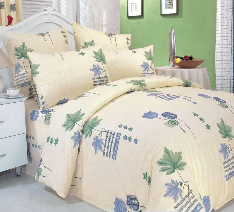 Комплект постельного белья СайлиД A-1, светло-бежевый, зеленый, голубой постельное белье сайлид комплект постельного белья a 63 1 p 1 5 спальный