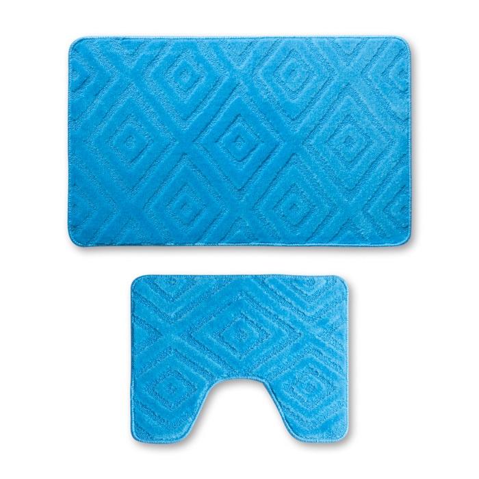 Набор ковриков для ванной Sibo TWINS 50х80 см., 50х40см., голубой идеи для санузла