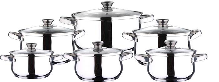 Набор посуды для приготовления Wellberg Набор кастрюль 1,3; 1,9; 1,9; 2,7; 2,7; 4,4 л
