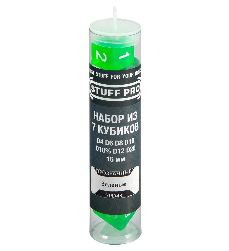 Аксессуар для настольных игр STUFF-PRO Набор кубиков для ролевых игр. Прозрачные зеленые набор настольных игр 4в1