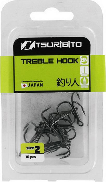 Крючок Tsuribito Treble Hook №14, тройной, 64438, 10 шт крючок рыболовный tsuribito crystal 14 10 шт 34627