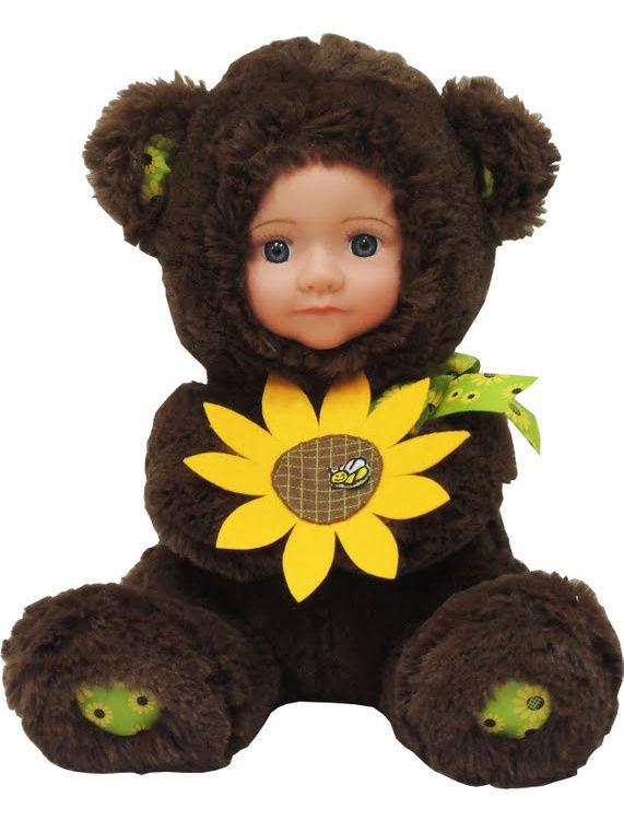 """Кукла """"Anna De Wailly"""" Медвежонок с цветочком 20 см"""