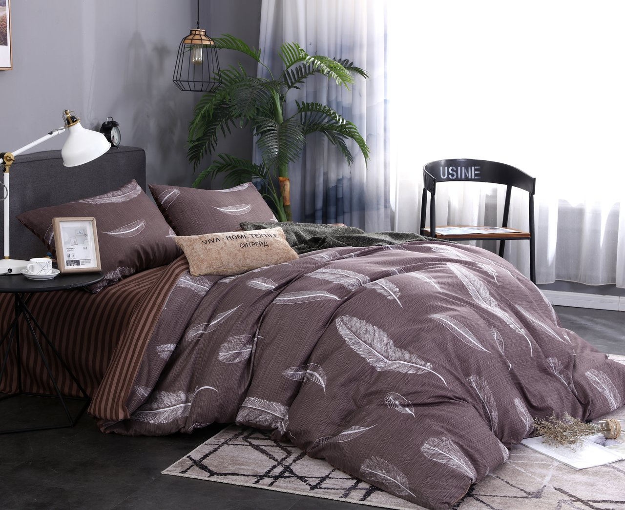 Комплект постельного белья Сатин подарочный AC059 Cитрейд 1.5 спальный, наволочки 50-70 2 шт елка канадская 150 см 342 ветки 1 шт в упаковке 2