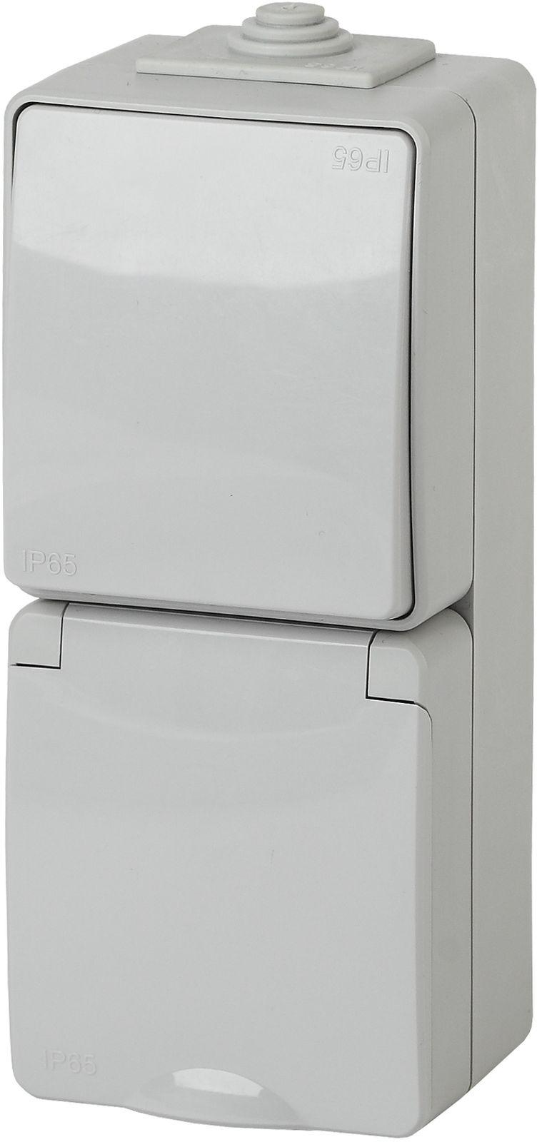 Розеточно-клавишный блок ЭРА Эксперт, вертикальный монтаж, 16A(10AX)-250В, 11-7607-03, серый блок розеточно клавишный эра эксперт цвет серый 11 7401 03