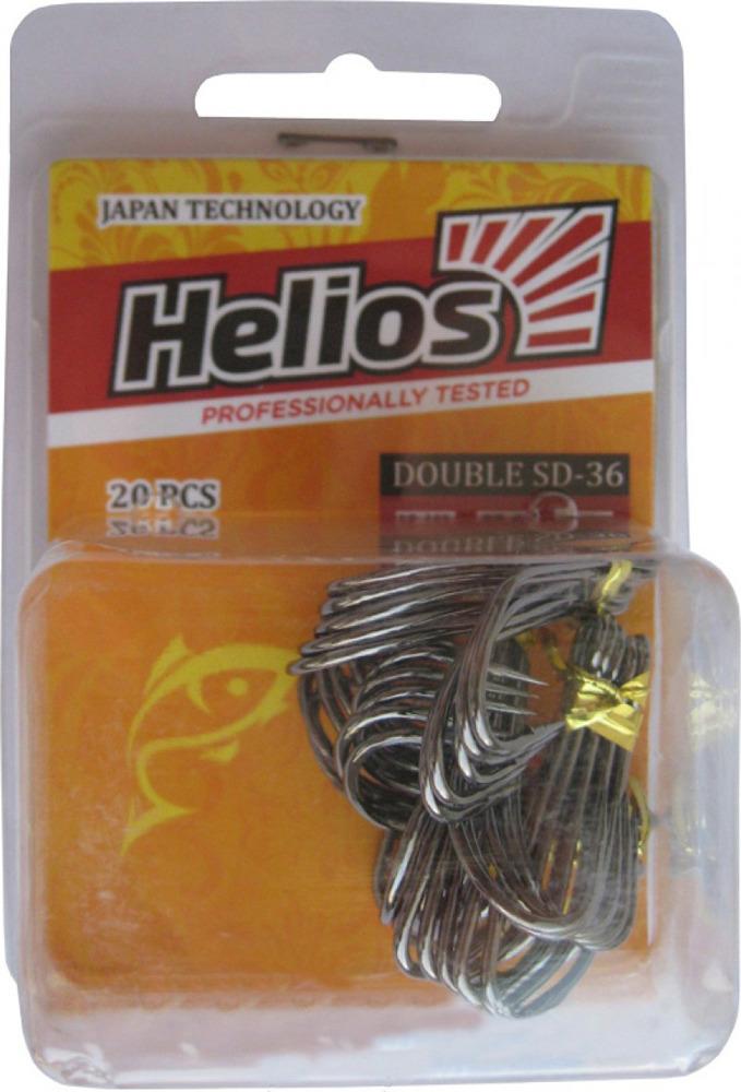 Крючок Helios SD-36, двойной №1, hs_sd_36_1-904-00, черный, 20 шт