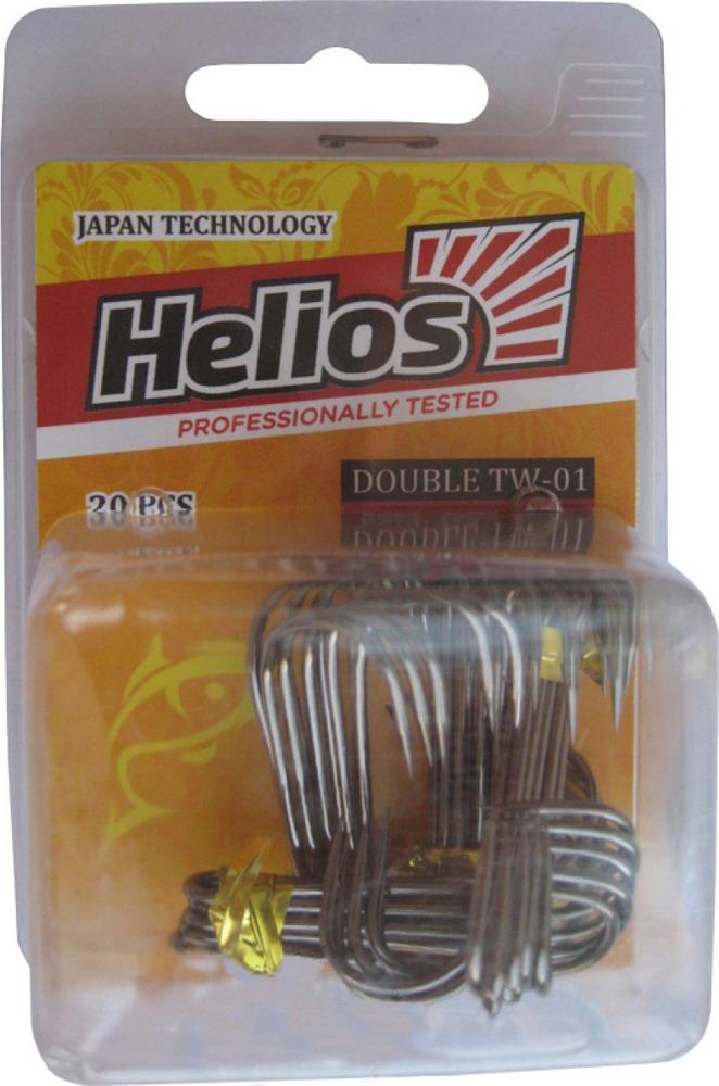 Крючок Helios TW-01, двойной №1, hs_tw_01_1-904-00, черный, 20 шт