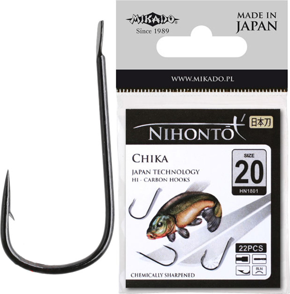 Крючок Mikado Nihonto-Chika, с лопаткой № 14 BN, hn1801_14bn-000-00, серебристый, 21 шт