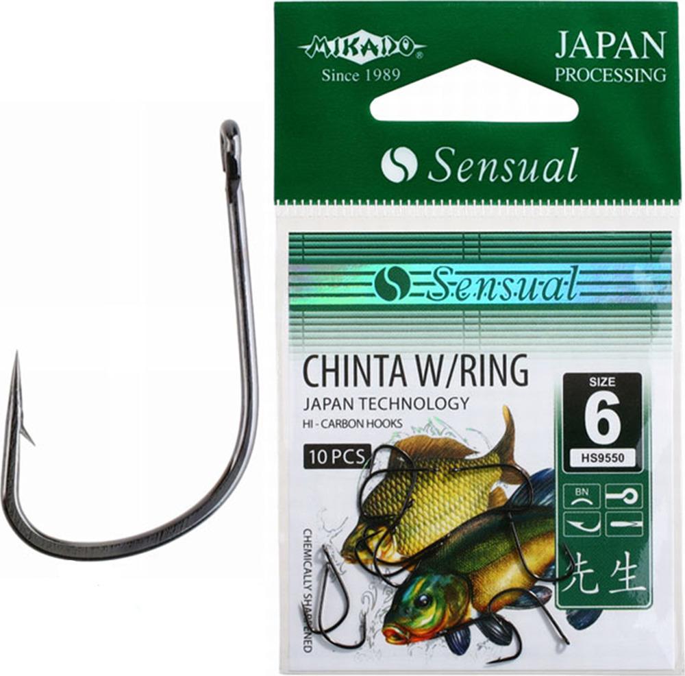 Крючок Mikado Sensual-Chinta W/Ring, с ушком № 10 BN, hs9550_10b-000-00, серебристый, 10 шт