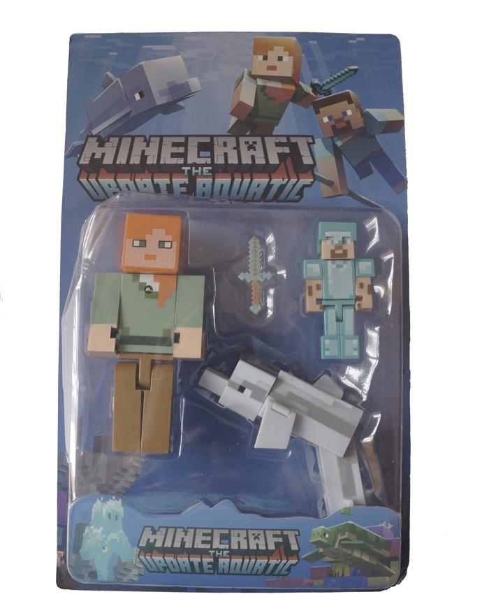 Набор фигурок Minecraft The Update Aquatic small (звук/свет): Pack 4 набор фигурок minecraft blacksmith with apron and anvil 8 см