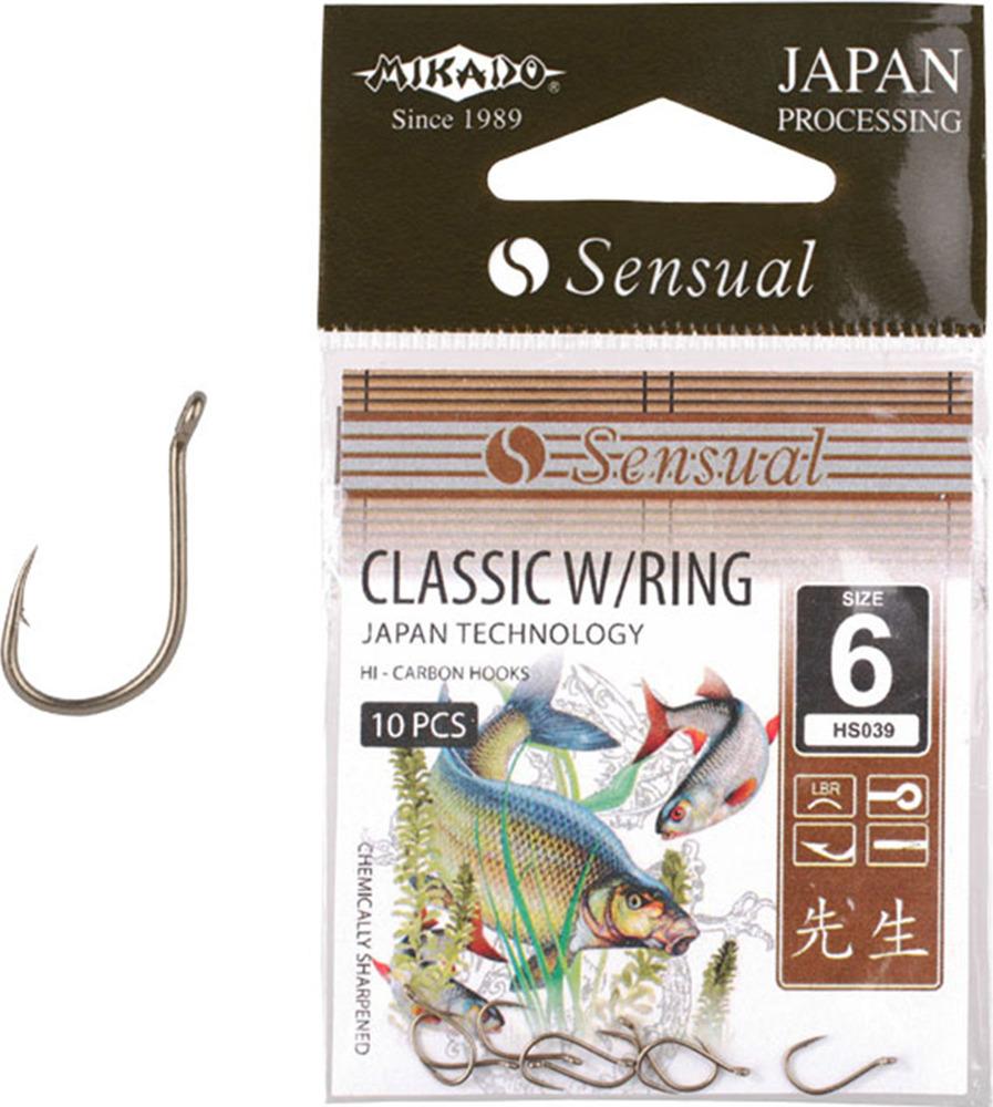 Крючок Mikado Sensual-Classic W/Ring, с ушком № 10 LBR, hs039_10lbr-000-00, серебристый, 10 шт
