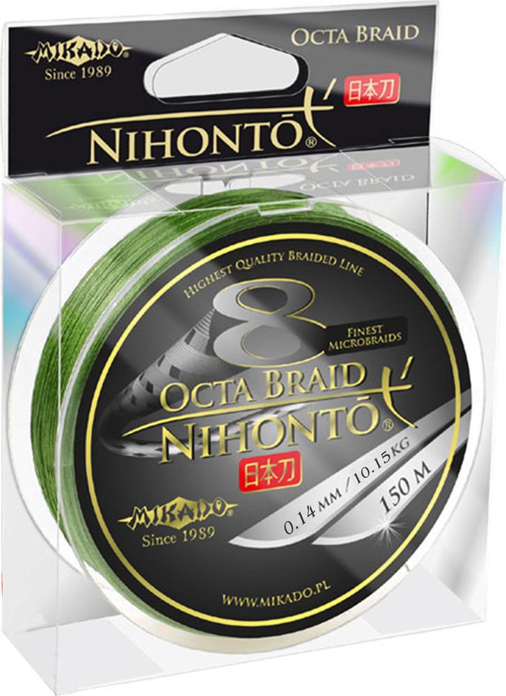 Плетеный шнур Mikado Nihonto Octa Braid, 10,15 кг, z24g_014-302-150, зеленый, 150 м