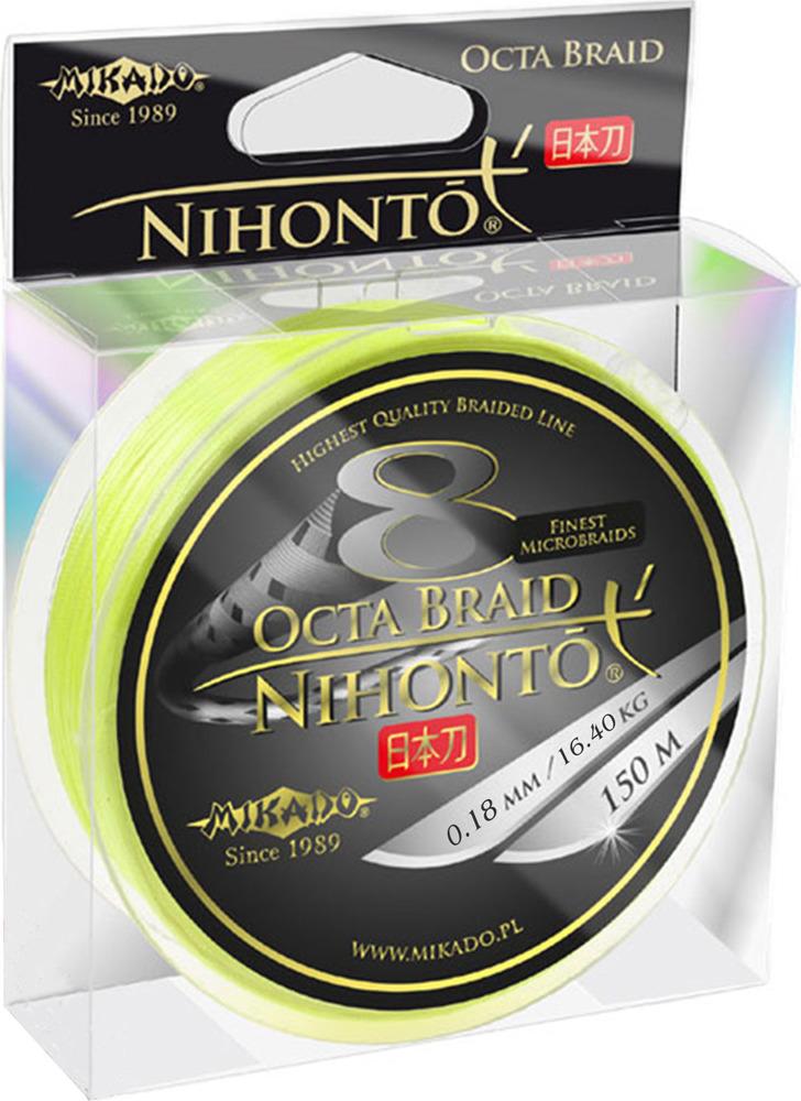 Плетеный шнур Mikado Nihonto Octa Braid, 16,40 кг, z24f_018-980-150, желтый, 150 м
