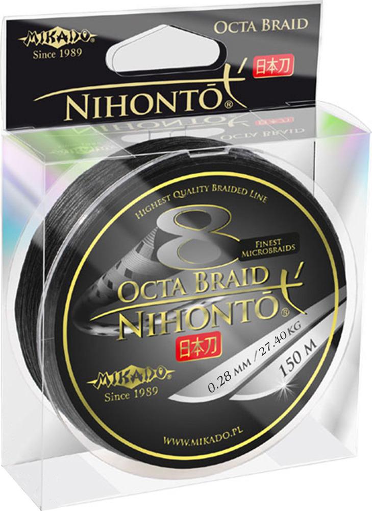 Плетеный шнур Mikado Nihonto Octa Braid, 27,40 кг, z24b_028-904-150, черный, 150 м