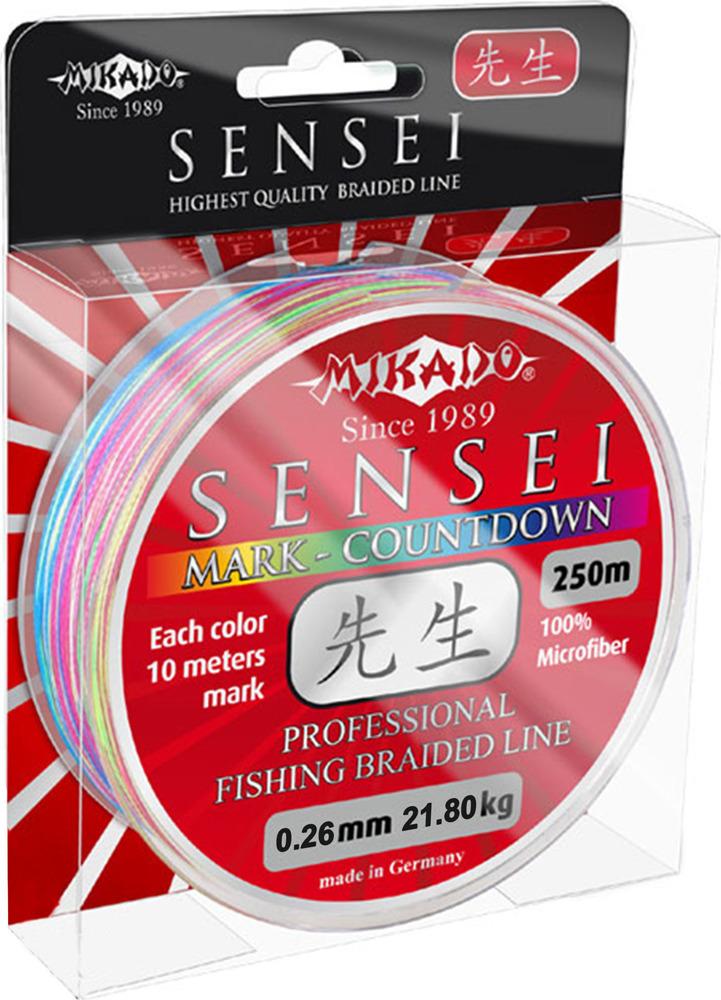 Плетеный шнур Mikado Sensei Mark-Countdown, 21,80 кг, z17_026-345-250, разноцветный, 250 м