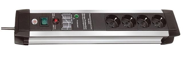 1391000604 Brennenstuhl сетевой фильтр Premium-Protect-Line 60.000 А, 3 м., черный,4 розетки