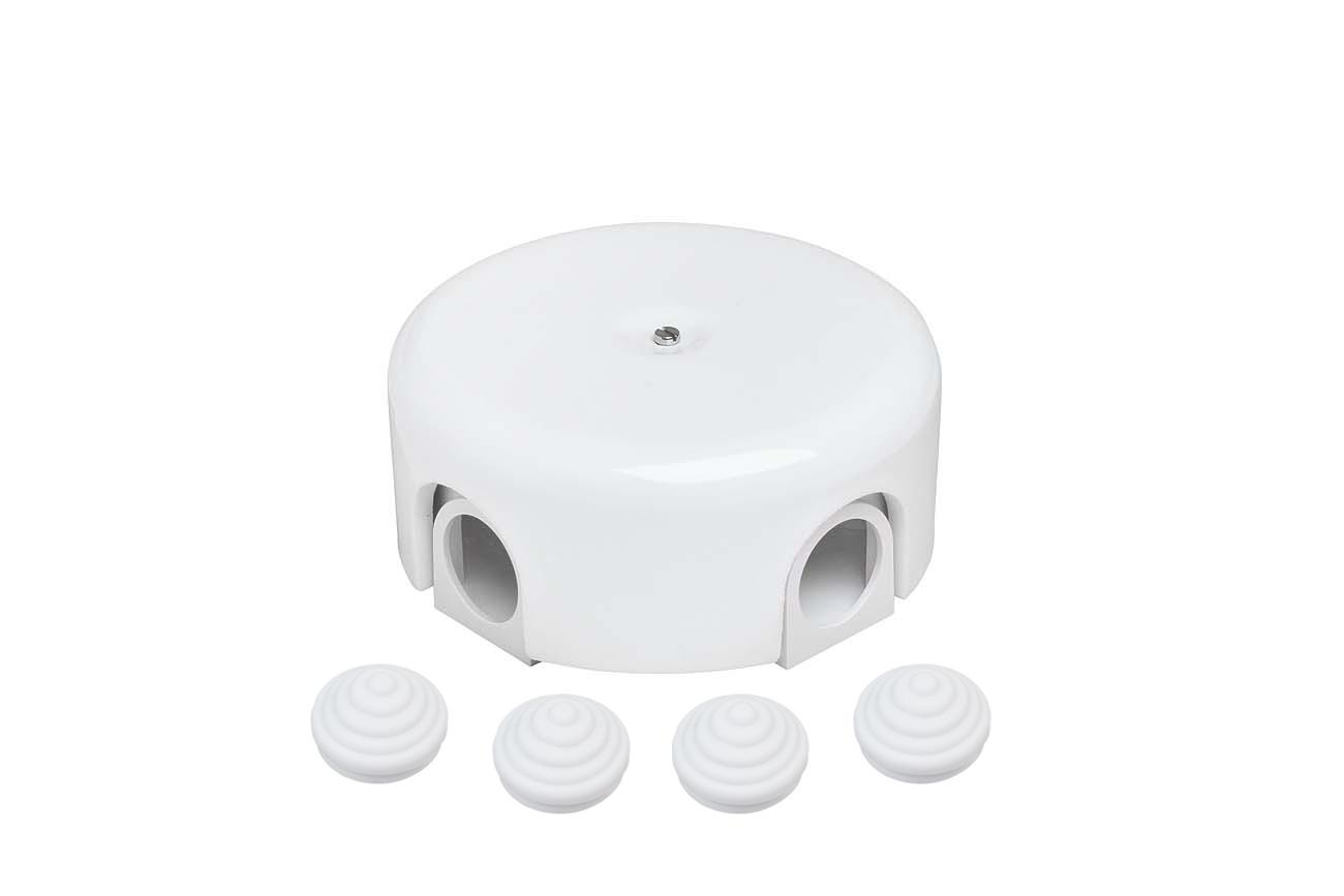 Коробка распределительная BIRONI ЛИЗЕТТА ПЛАСТИК для наружной проводки ( 4 кабельных ввода в комплекте ), цвет Белый, негорючая B1-522-21-K распределительная коробка sab 950 для монтажа ahd ip камер orient серии 950 o93мм x 42мм алюминий цвет белый