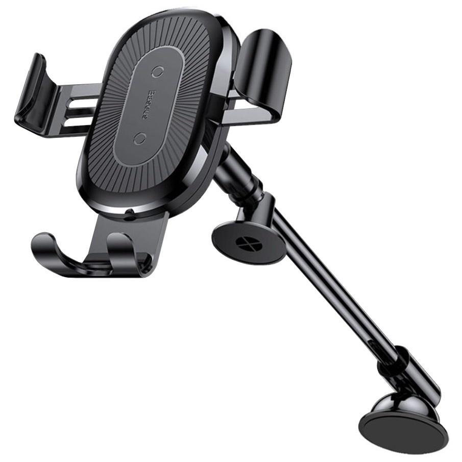 Автомобильный держатель для телефона на торпеду с беспроводной быстрой зарядкой Baseus Gravity - Черный (WXZT-01) автомобильный держатель для телефона на торпеду baseus mouth car mount черный sudz 01