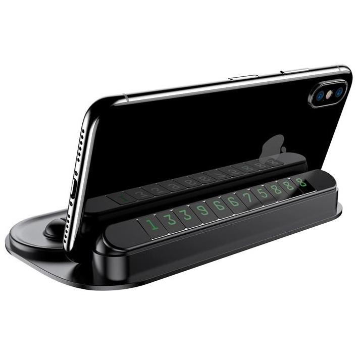 Автомобильный держатель для телефона на торпеду с табличкой для номера Baseus - Черный (ACNUM-PM01) автомобильный держатель baseus carwirbassens черный