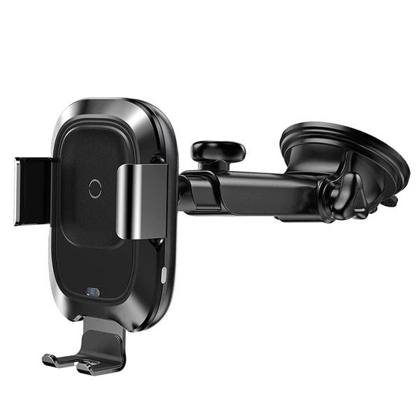 Автомобильный держатель для телефона с беспроводной быстрой зарядкой Baseus Smart Vehicle Bracket - Черный (WXZN-B01) автомобильный держатель baseus carwirbassens черный