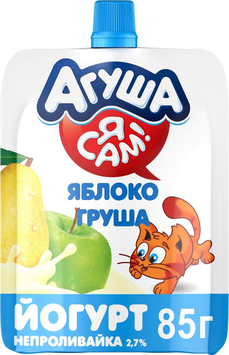 Йогурт Агуша Я сам! Яблоко, груша 2,7%, с 3 лет, 85 г