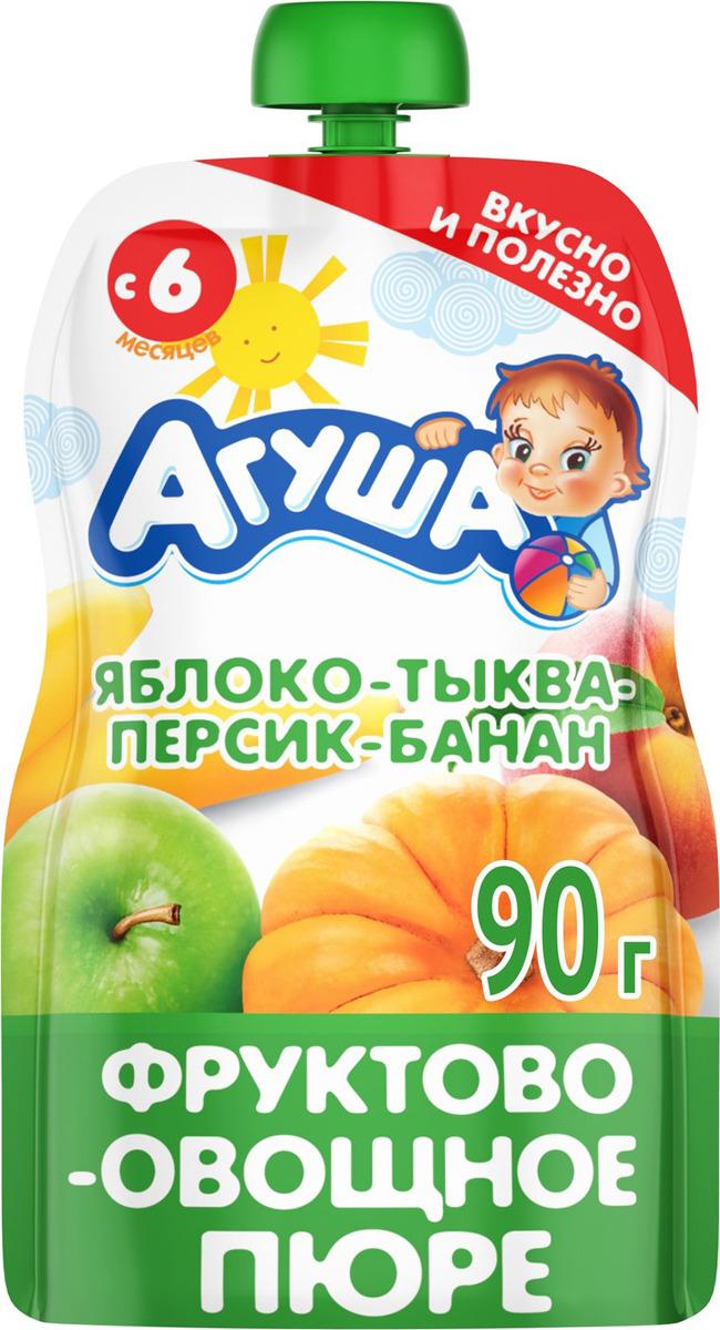Пюре для детей Агуша Яблоко Тыква Персик Банан, фруктово-овощное, с 6 месяцев, 90 г