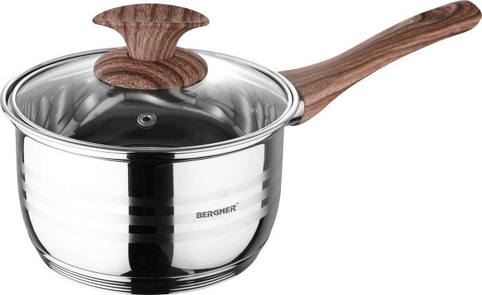 Кухонный ковшик Bergner Ковш с крышкой, серебристый ковш bergner pandora 16 см