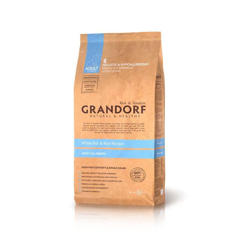 Grandorf Dog White Fish&Rice корм для собак всех пород, белая рыба с рисом 3кг
