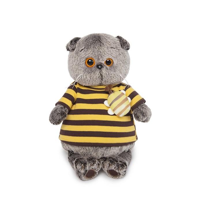 Фото - Мягкая игрушка Budi Basa Кот Басик в полосатой футболке с пчелой, 19 см budi basa мягкая игрушка budi basa кот басик в полосатой футболке с пчелой 19 см