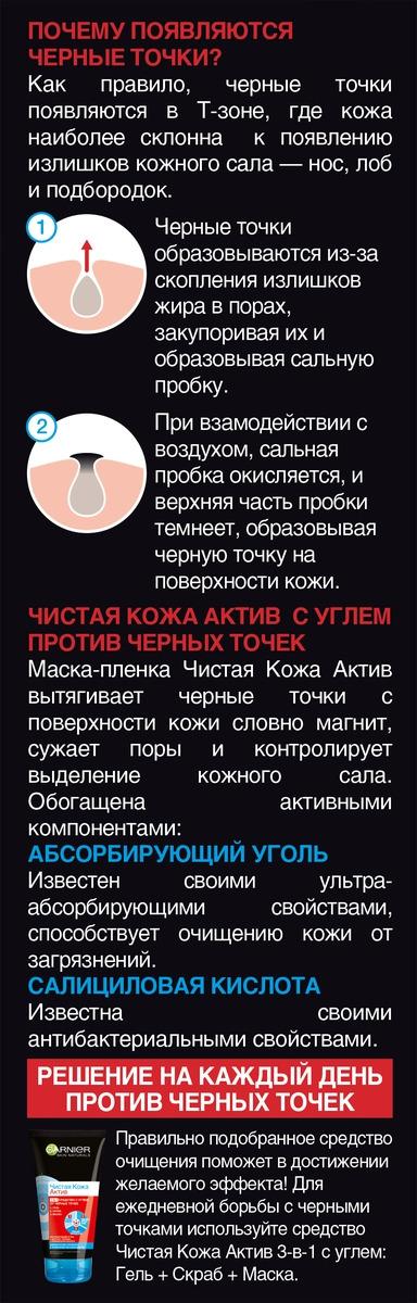 Маскапленка для лица Garnier Чистая Кожа Актив с углем против черных точек для жирной кожи склонной к появлению несовершенств 50 мл Garnier