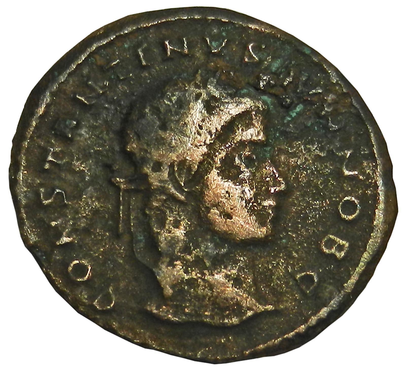 Монета фоллис. Константин II. Бронза. Древний Рим, 321-324 гг (Венок)