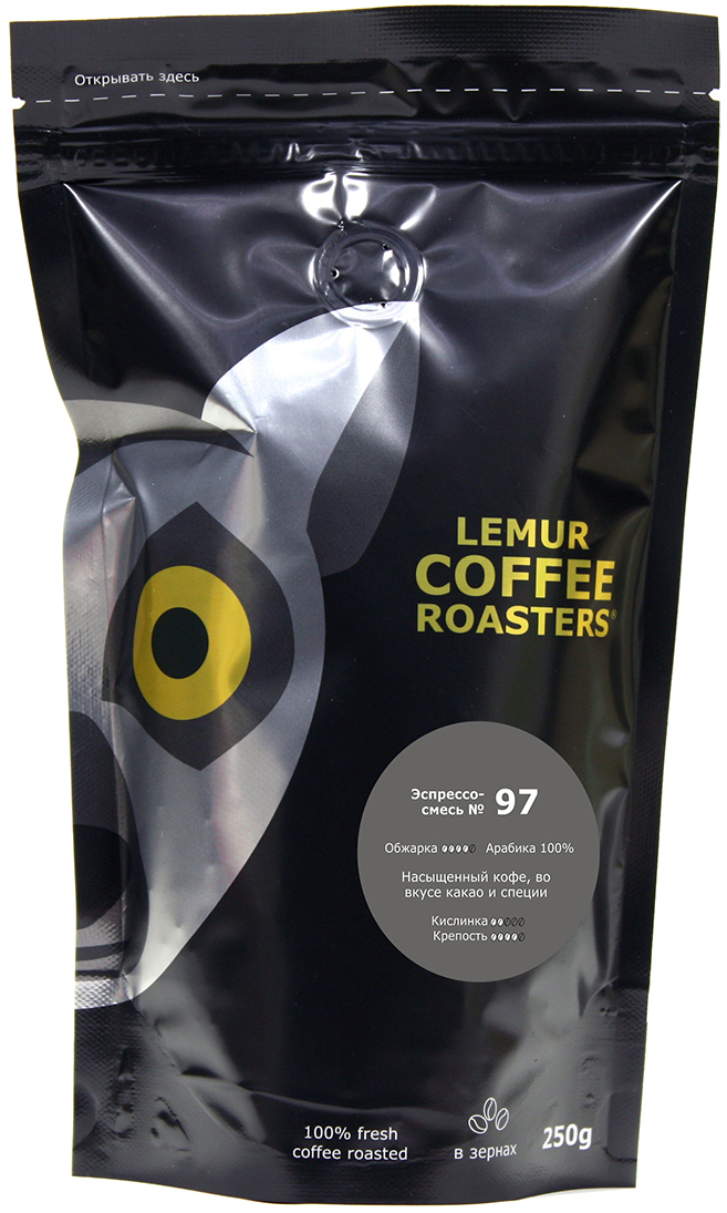Кофе в зернах Lemur Coffee Roasters Эспрессо-смесь №97, 250 г