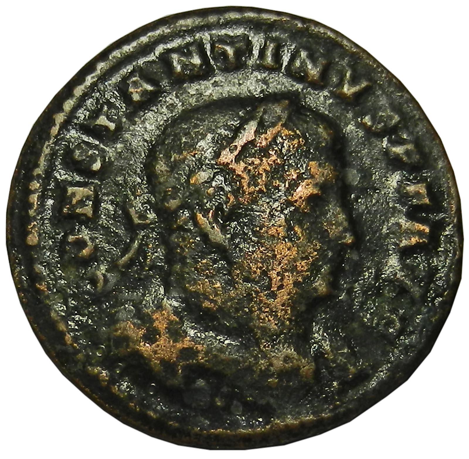 Монета фоллис. Константин I Великий. Бронза. Древний Рим, 310-313 гг. (Сол)