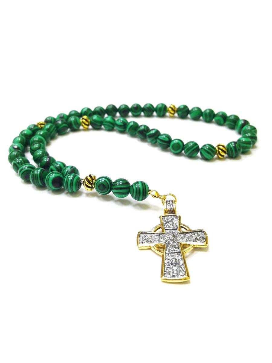 Четки из малахита с крестом, 50 камней