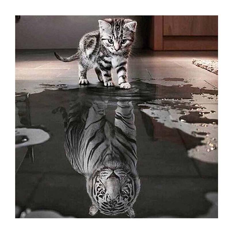 Алмазная мозаика TopSeller Алмазная вышивка (котенок, тигр)