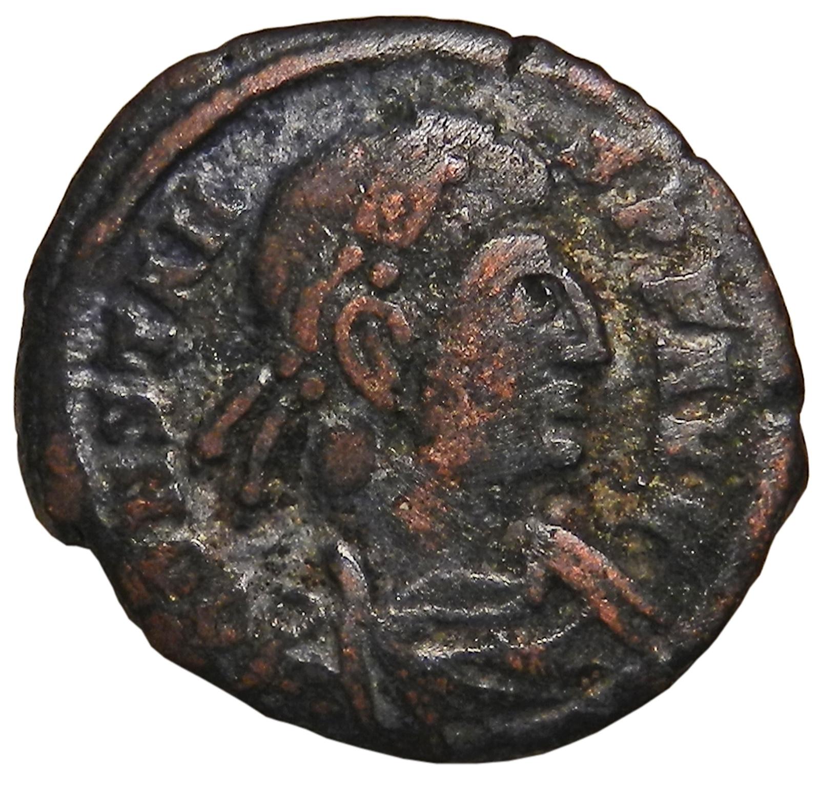Монета AE4. Констант. Бронза. Древний Рим, 333-350 гг (две Виктории)