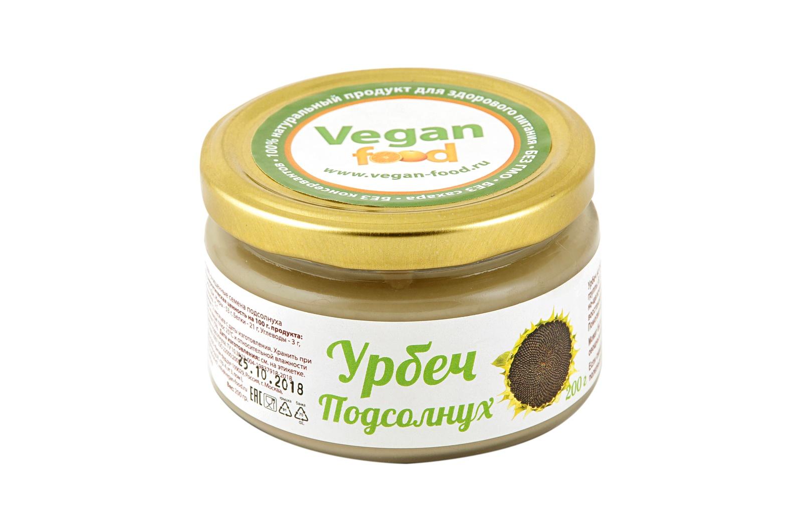 Урбеч Vegan food из семян подсолнуха, 200 г good foodсемечкиподсолнечникажареные 150г