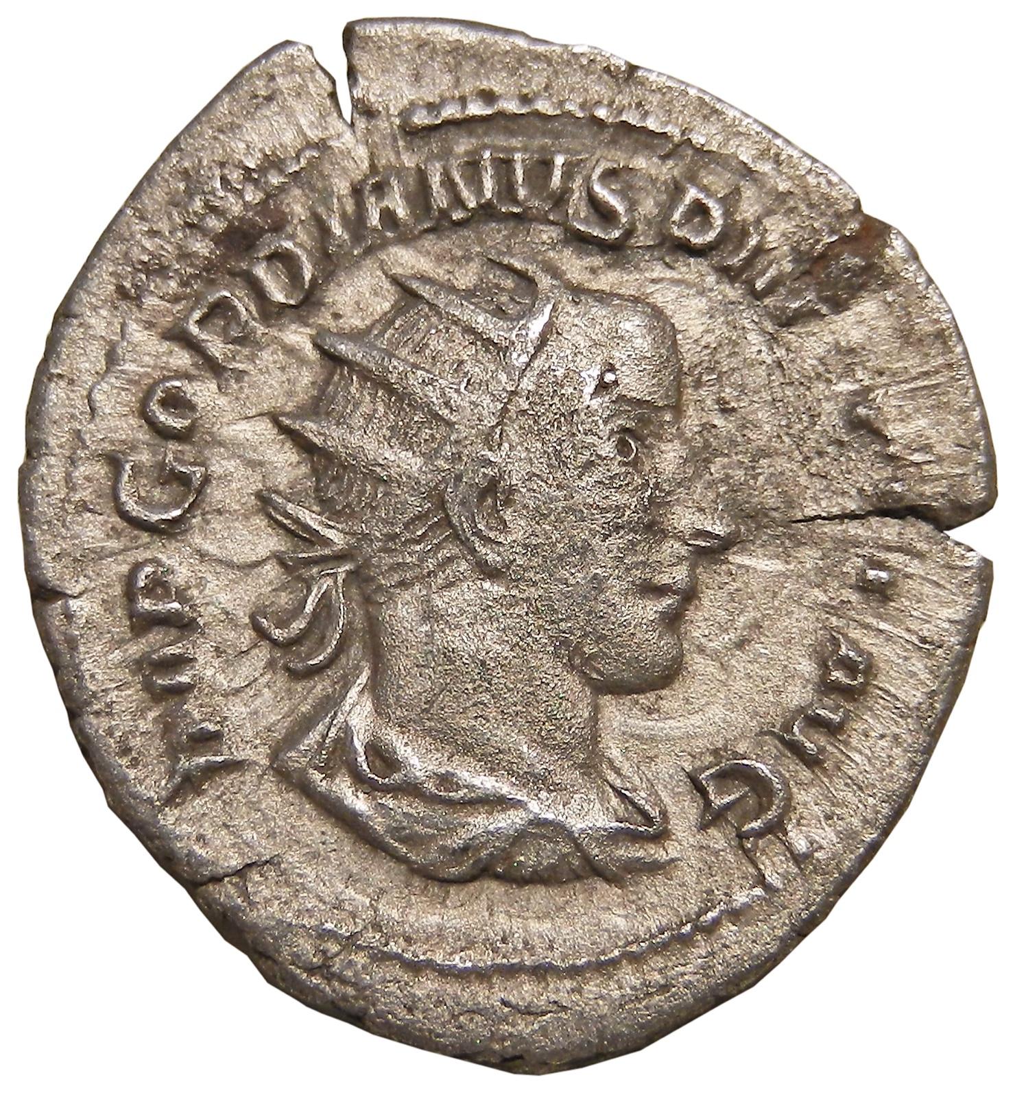 Монета антониниан. Гордиан III. Белый металл. Древний Рим, 244 год (Виктория)