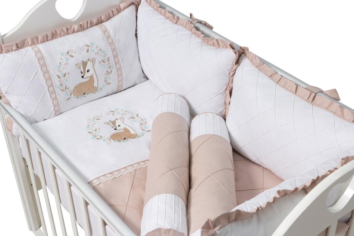 """Бортики для детской кровати """"Bambi"""" 9 предметов с валиками"""
