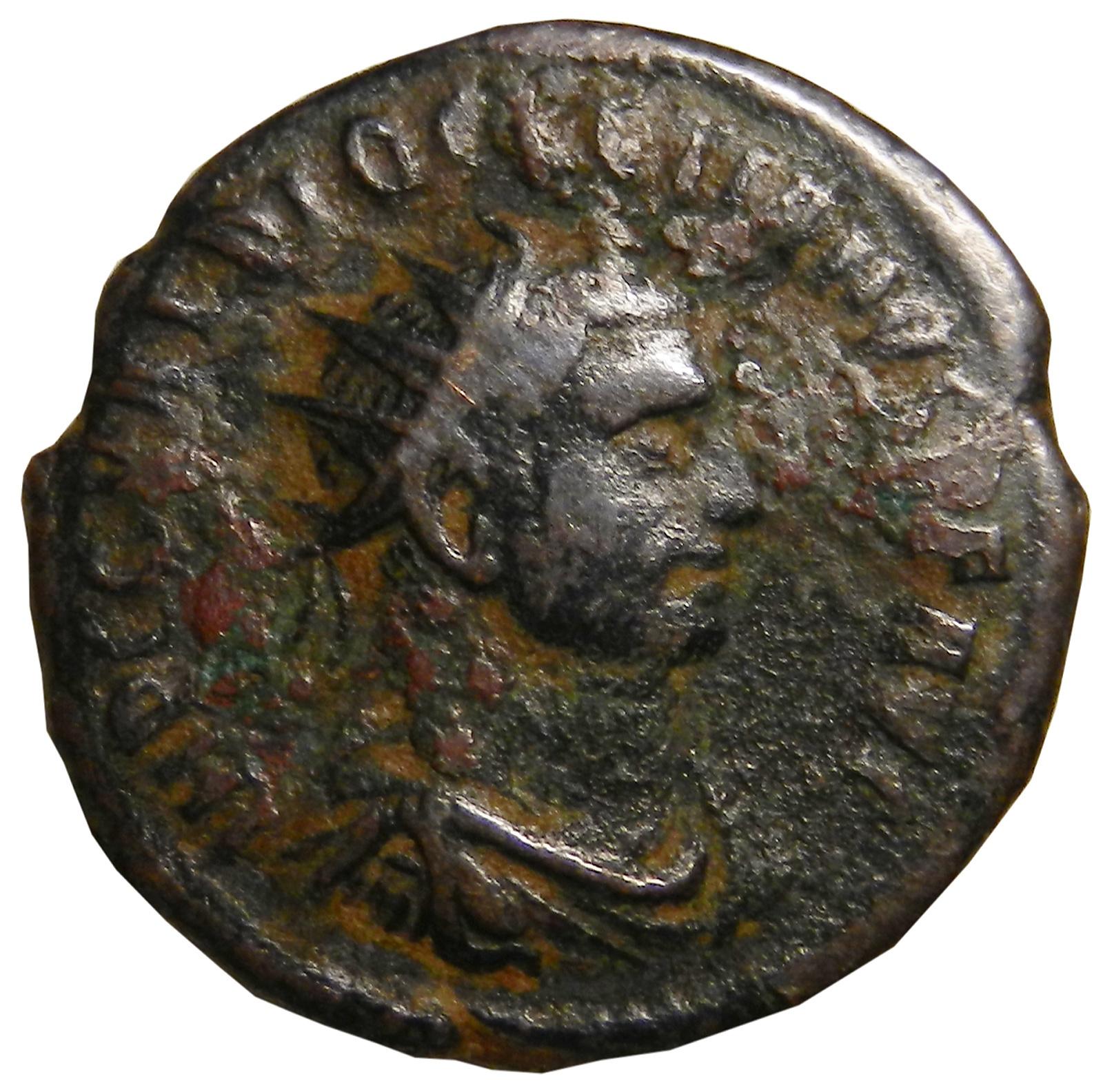 Монета антониниан. Диоклетиан. Бронза. Древний Рим, 285-290 гг. (Юпитер)