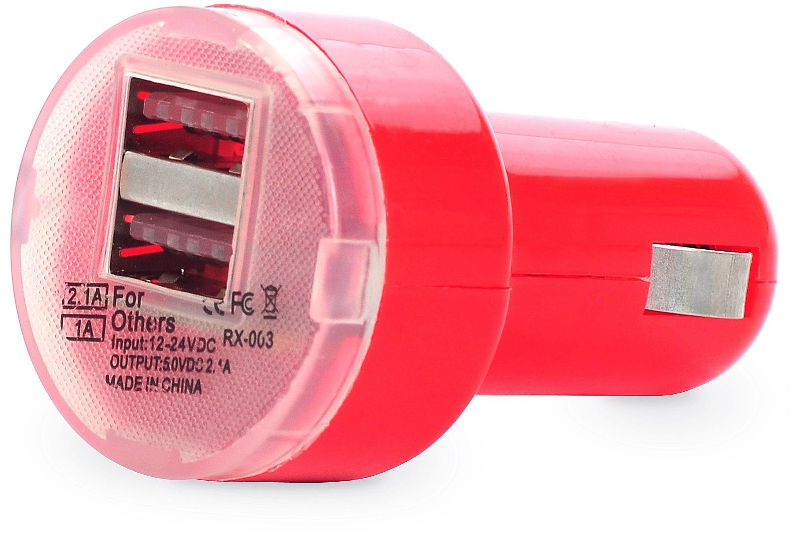 Автомобильное зарядное устройство (в прикуриватель) Gurdini red 2USB порта 1A/2.1A, красный