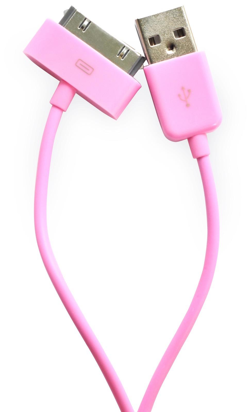 Кабель Gurdini 30- pin 70 см rose для Apple iPhone, iPad, iPod, розовый кабель hama 30 pin apple usb 2 0 черный 1м для apple iphone 3g 3gs 4 4s 00093577