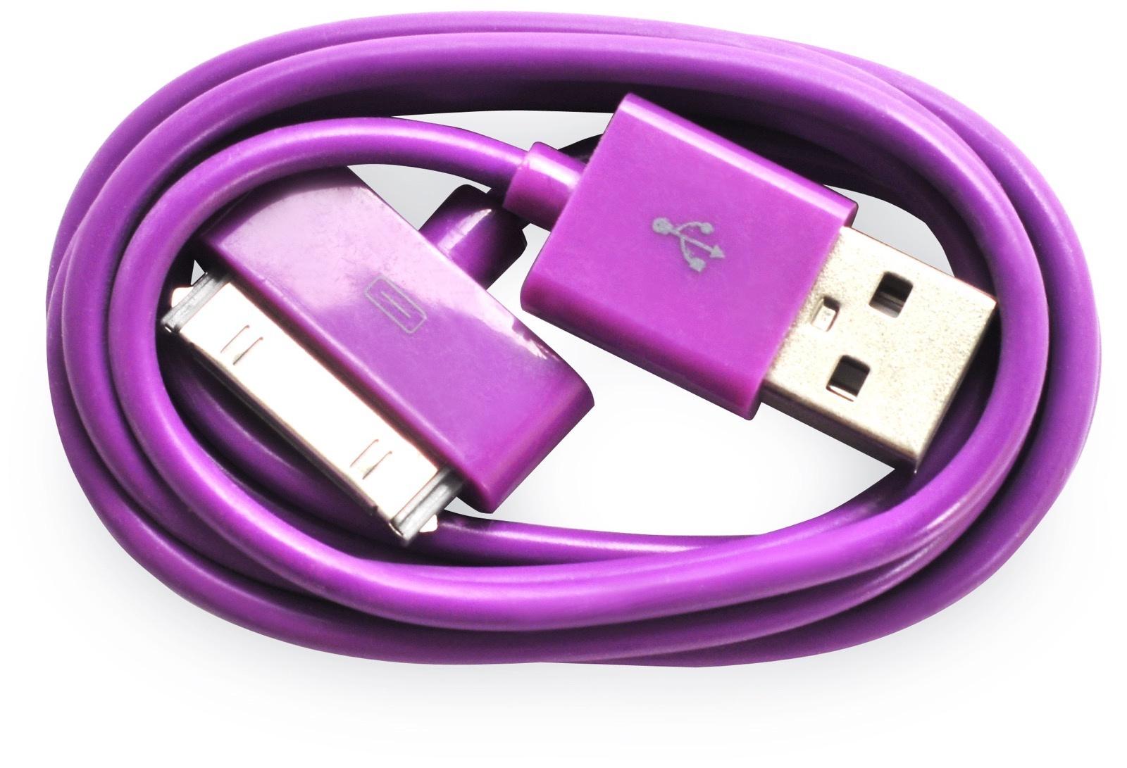 Кабель Gurdini 30- pin 70 см violet для Apple iPhone, iPad, iPod, фиолетовый кабель hama 30 pin apple usb 2 0 черный 1м для apple iphone 3g 3gs 4 4s 00093577