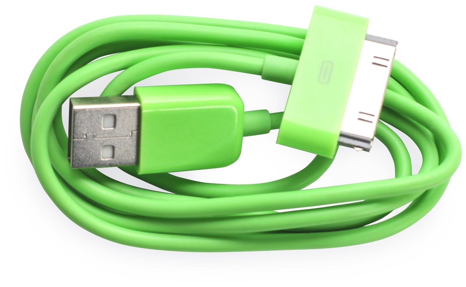 Кабель Gurdini 30- pin 70 см green для Apple iPhone, iPad, iPod, зеленый кабель hama 30 pin apple usb 2 0 черный 1м для apple iphone 3g 3gs 4 4s 00093577