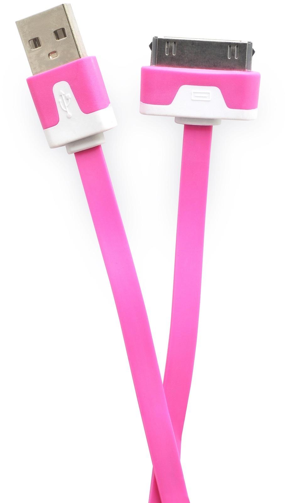 Кабель Gurdini 30- pin плоский 70 см crimson для Apple iPhone, iPad, iPod, темно-розовый кабель hama 30 pin apple usb 2 0 черный 1м для apple iphone 3g 3gs 4 4s 00093577