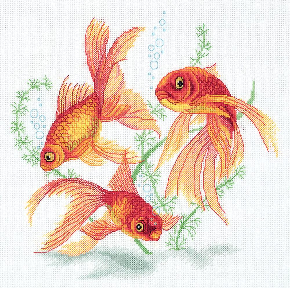 Набор для вышивания крестом Panna Золотые рыбки, R-7141, 24 х 22,5 см набор для вышивания крестом panna благословение успех 27 х 15 см