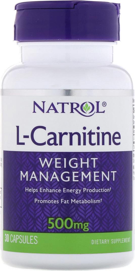 Карнитин Natrol L-карнитин 500 мг, 30 капсул цена