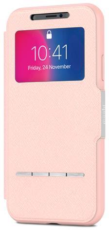 Чехол-книжка Moshi SenseCover для iPhone X. Материал пластик/полиуретан. Цвет розовый. аксессуар чехол moshi sensecover для iphone 6 plus graphite 99mo072304